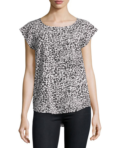 Rancher N Lip-Print Silk Top, Porcelain