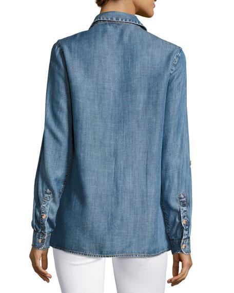 Tolani Kristy Embroidered Chambray Shirt Plus Size