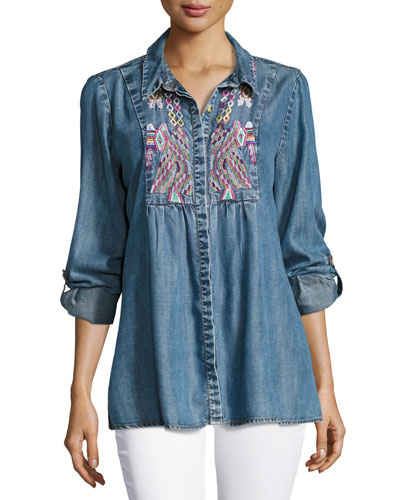 Plus size designer tops sweaters at neiman marcus for Plus size chambray shirt