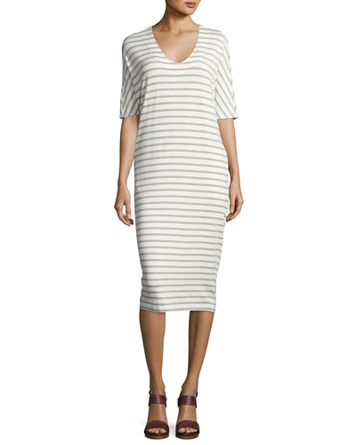 Vedika Striped V-Neck Dress, White/Gray