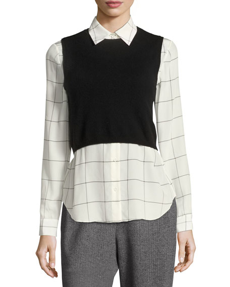 Alice olivia lucinda combo cropped sweater vest w shirt for Sweater and dress shirt combo