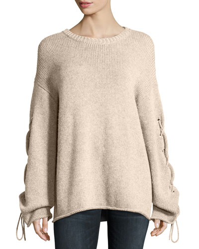 Lace-Up Sleeves Cable-Knit Pullover Sweater