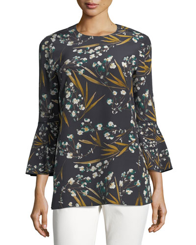 Sidra 3/4-Bell-Sleeve Moody Floral Silk Blouse