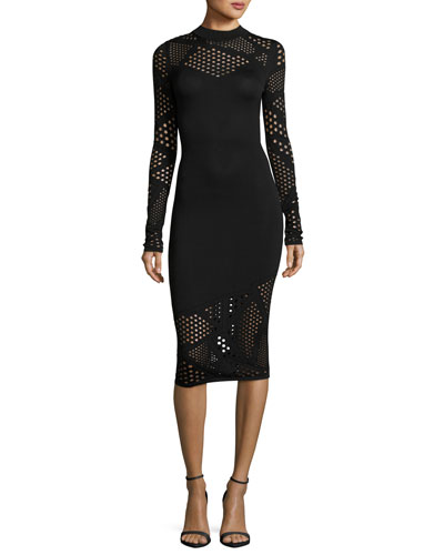 Long-Sleeve Fractured Pointelle Sheath Dress