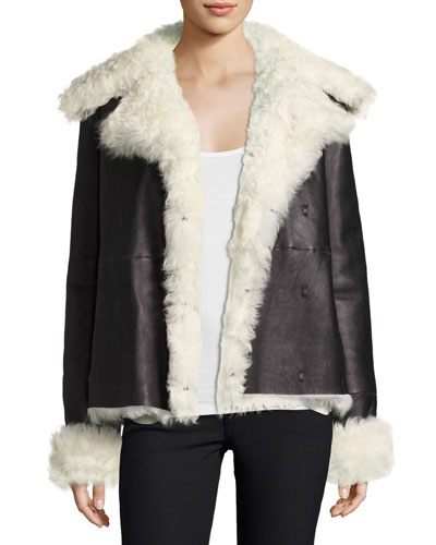 Curly Toscana Shearling Fur Leather Pea Coat, Black