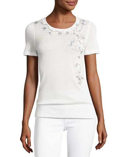 Holden Short-Sleeve Floral-Embroidered Cashmere Sweater