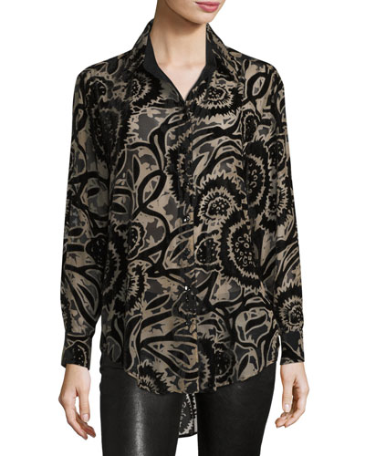 New Monica Burnout Velvet Blouse