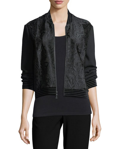 Brandy Velvet-Trim Calf Hair Bomber Jacket