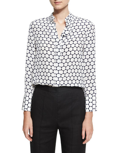 Long-Sleeve Collared Cuffed Silk Shirt