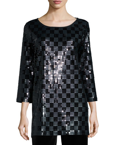 3/4-Sleeve Square Sequined Tunic, Plus Size