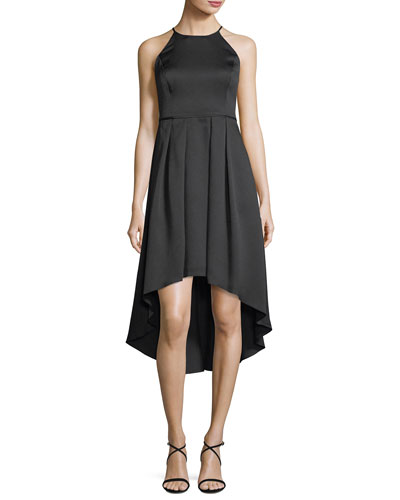 High-Low Pleated Satin Cocktail Dress
