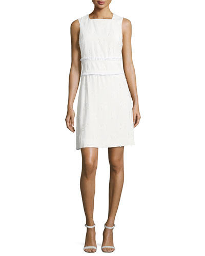 Sleeveless High-Neck Sheath Dress w/ Fringed Trim