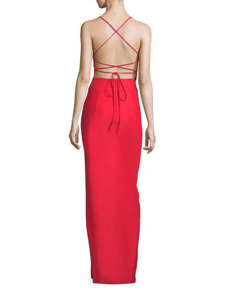 McKenna Tech Stretch V-Neck Strappy-Back Evening Gown
