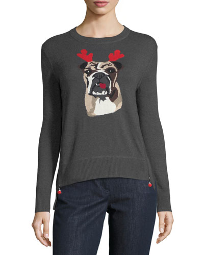 Holiday Bulldog Cashmere Sweater, Plus Size