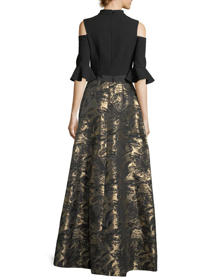 Cold-Shoulder Top Jacquard Skirt Evening Gown