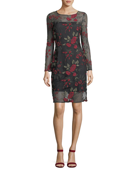 Zabrina Floral-Embroidered Cocktail Dress