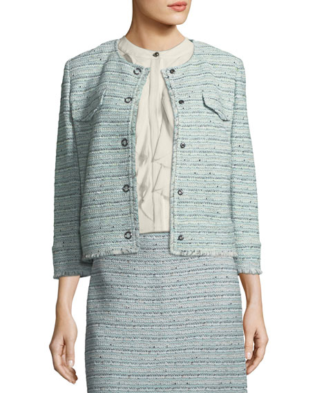 Riana Multi-Tweed Jacket with Fringe