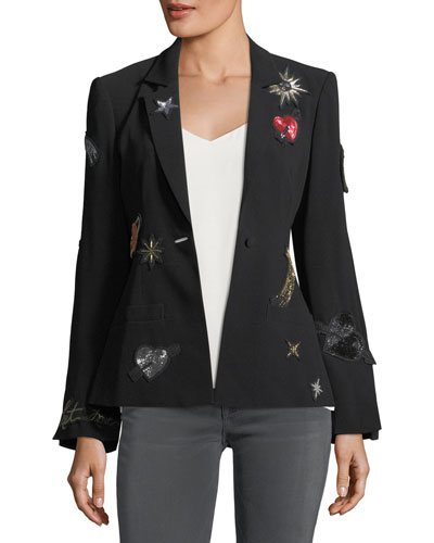 Rumi Single-Breasted Crepe Blazer with Embellished Patches