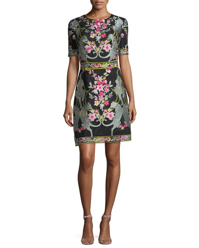 Short-Sleeve Embroidered Mini Cocktail Dress