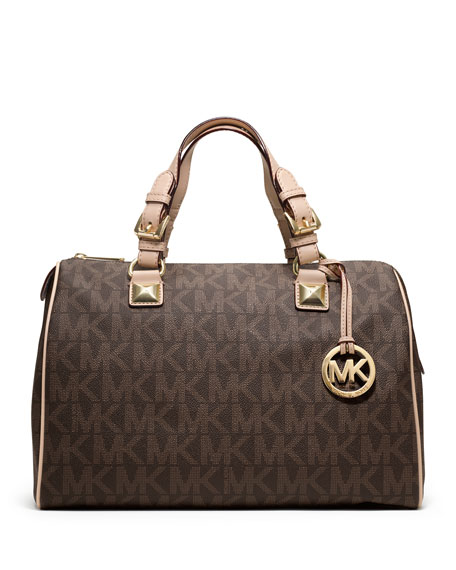 michael michael kors grayson large logo satchel bag brown rh neimanmarcus com