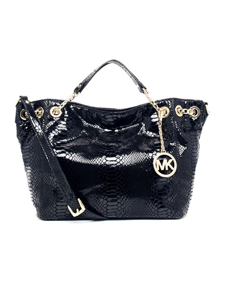375d99190baa MICHAEL Michael Kors Jet Set Chain Medium Gather Shoulder Tote,  Python-Embossed Black Patent