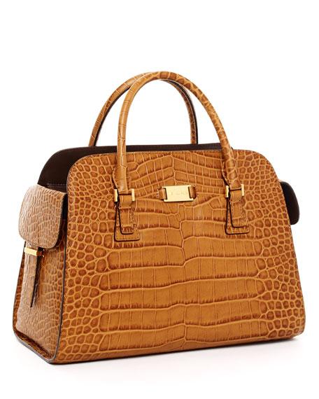 michael kors gia crocodile embossed leather satchel barley rh neimanmarcus com