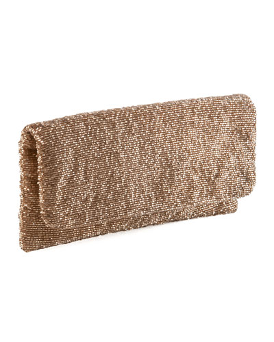 Beaded Fold-Over Clutch, Taupe