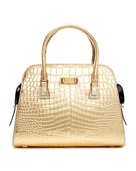addf2979f802 Michael Kors Gia Metallic Crocodile-Embossed Satchel Bag