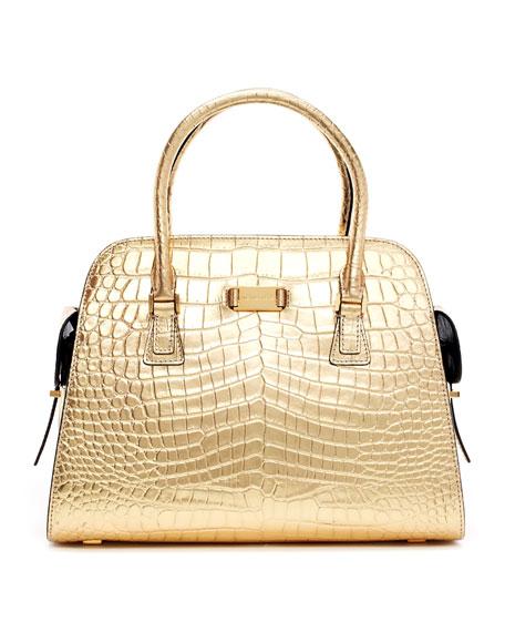 fb1b0aa951f9b2 Michael Kors Gia Metallic Crocodile-Embossed Satchel Bag