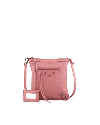 Classic Flat Crossbody Bag, Rose Bombon