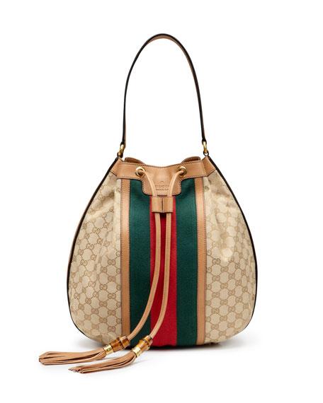 79b1ed193d689f Gucci Rania Canvas Drawstring Shoulder Bag, Classic Khaki