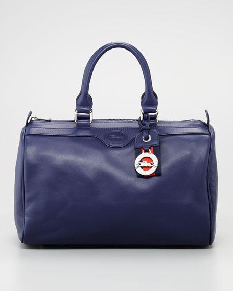 Au Sultan Leather Bowler Bag Navy
