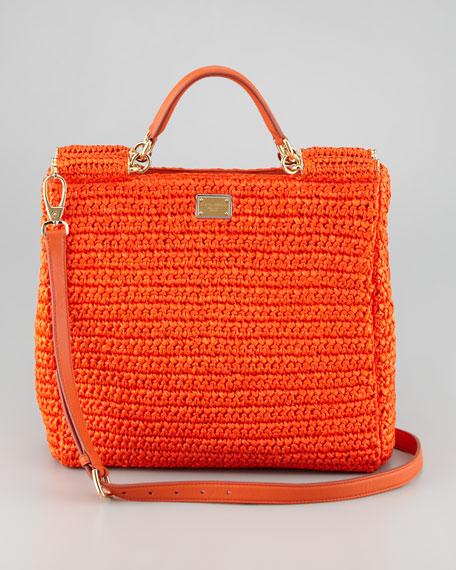 07e3c3dd472 Dolce & Gabbana New Miss Sicily Crochet Tote Bag, Orange