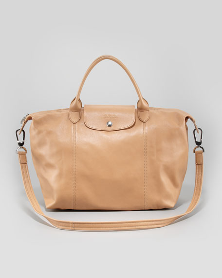 b0d7c35120b Longchamp Le Pliage Cuir Medium Handbag with Strap, Natural