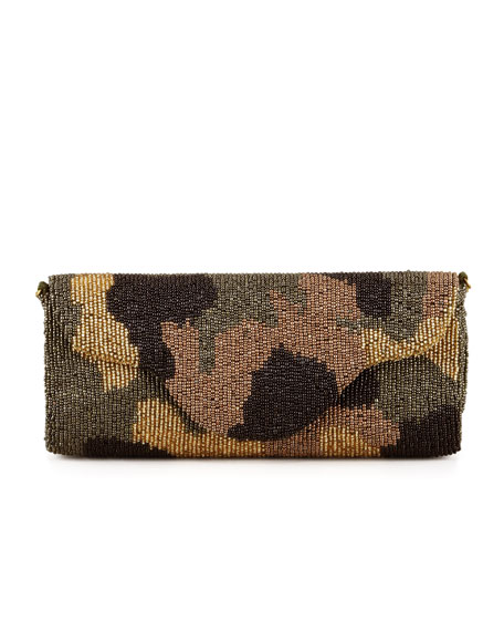 Camouflage Beaded Clutch Bag Olive