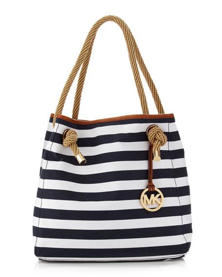 795b240ffc20 MICHAEL Michael Kors Marina Large Canvas Grab Bag, Navy/White