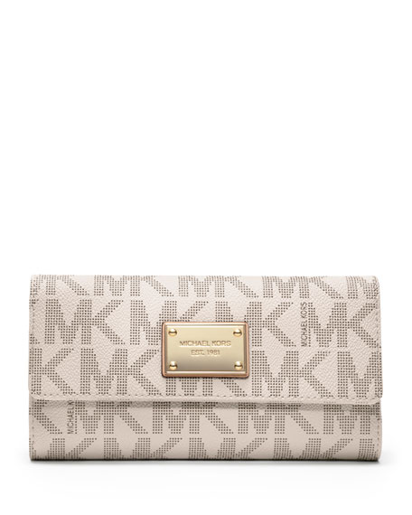 77f52431347a MICHAEL Michael Kors Jet Set Logo Checkbook Wallet, Vanilla
