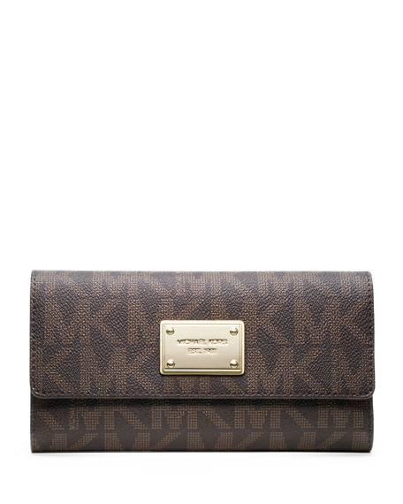 33d37271528a MICHAEL Michael Kors Jet Set Logo Checkbook Wallet, Brown