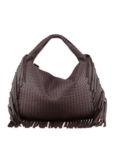 Veneta Fringed Hobo Bag, Dark Brown