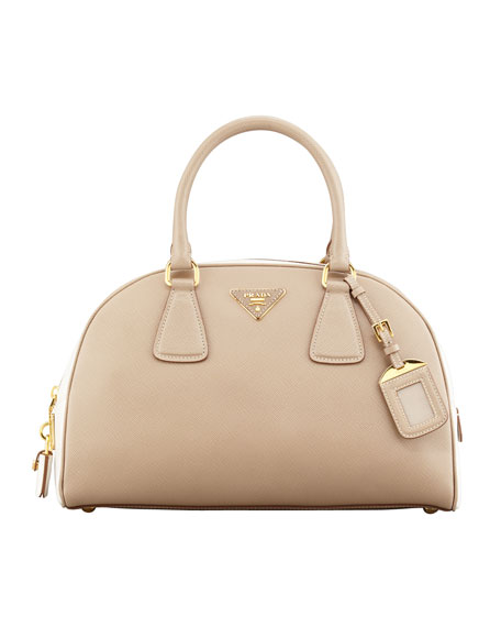 4eb7af655ec6 official store prada bowling handbag in brown leather and beige canvas  99162 50570; where can i buy prada saffiano lux bi color bowler bag 49ea9  faedb