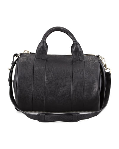 Rocco Leather Satchel Bag, Black/Pale Gold