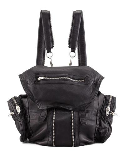 Marti Zippered Backpack, Black