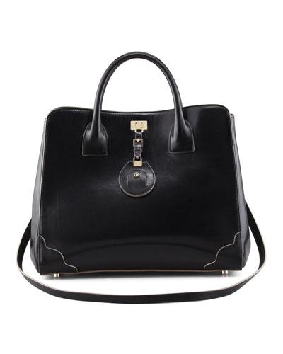 Jourdan Leather Turn-Lock Tote Bag, Black