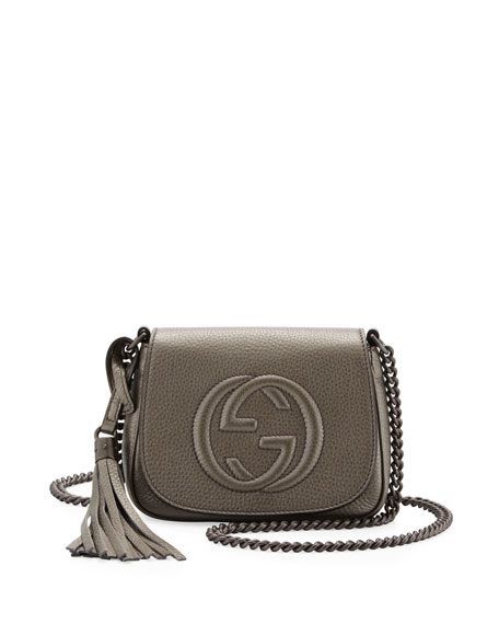 2fe317f86 Gucci Soho Metallic Leather Chain Crossbody Bag, Gunmetal