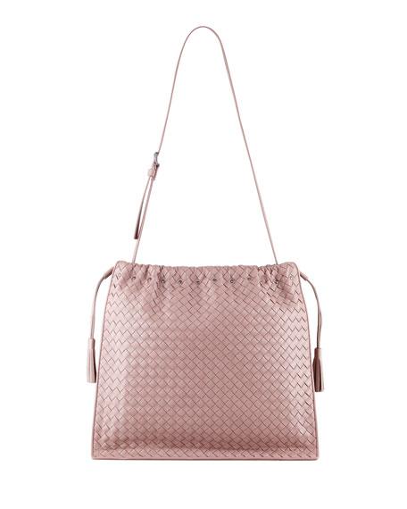 68d0f8c3ac4 ... Bottega Veneta Large Drawstring Woven Shoulder Bag, Mauve official  photos 6c335 346b2 ...