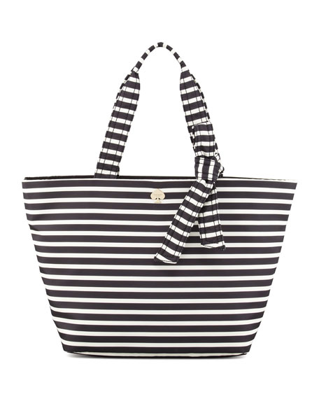 Flatiron Barbara Striped Nylon Tote Bag Black White