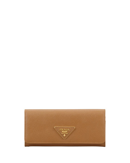 0a820865d28f Prada Saffiano Triangle Continental Flap Wallet, Brown (Caramel)