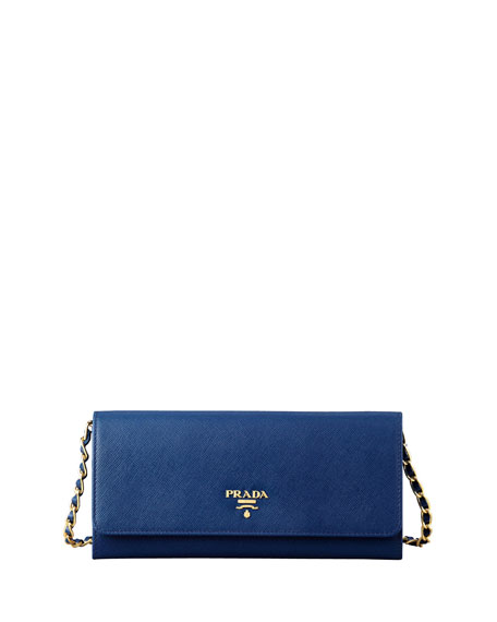15d1c8be0142 Prada Saffiano Wallet on a Chain, Blue (Bluette)