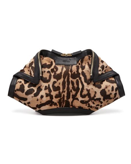456dab1648ff Alexander McQueen De-Manta Leopard-Print Calf Hair Clutch Bag