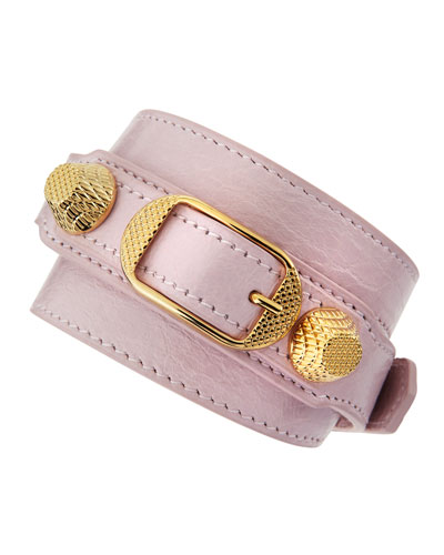 Giant 12 Yellow Golden Leather Wrap Bracelet, Rose